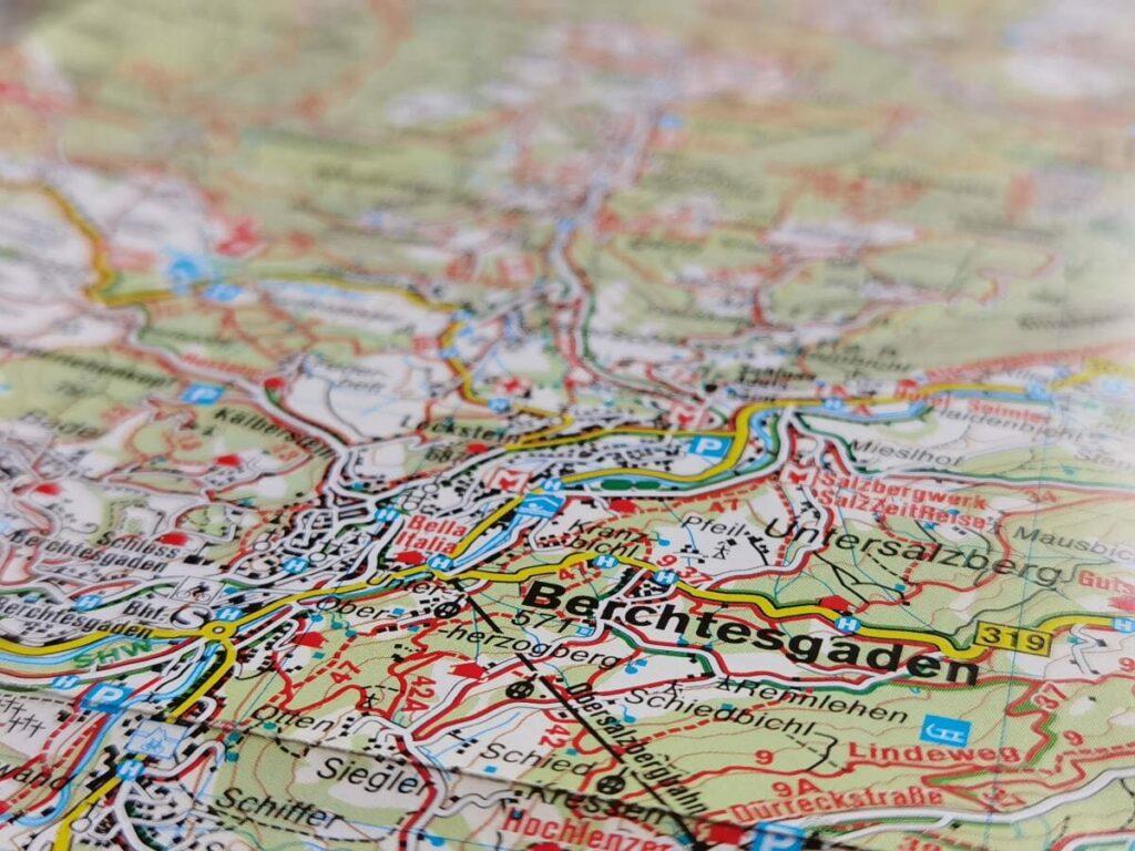 Berchtesgadener Land Karte - hier der Ausschnitt der Kompass Karte